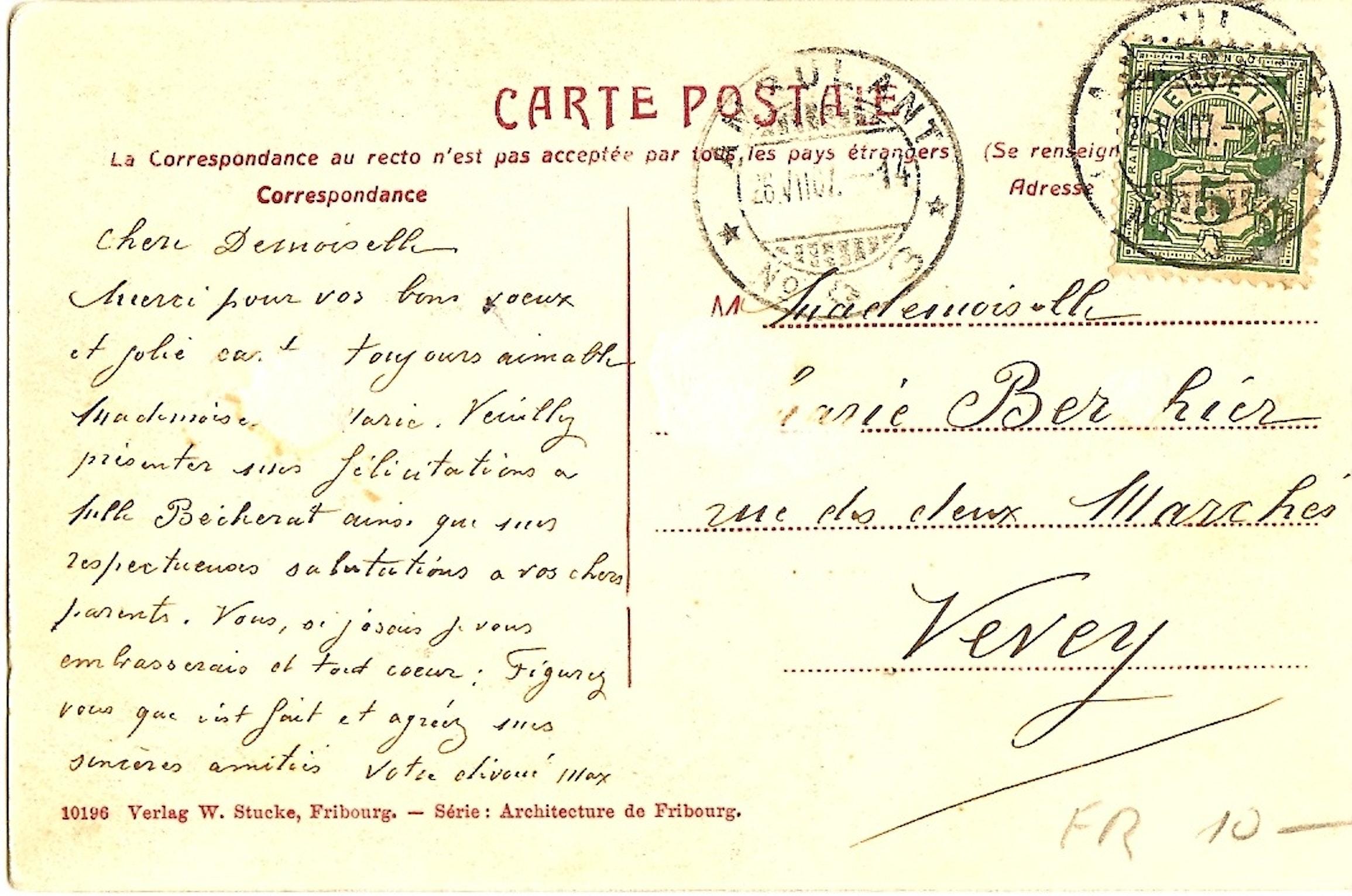 texte pour carte postale Texte carte postale Chapelle de Sainte Apolline, Villars sur Glâne