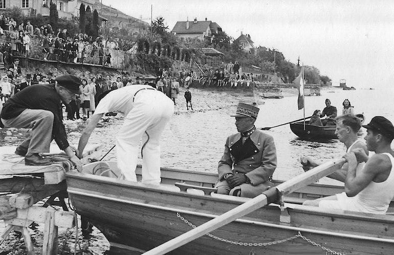 Le Général Guisan à la plage de Villette 1944