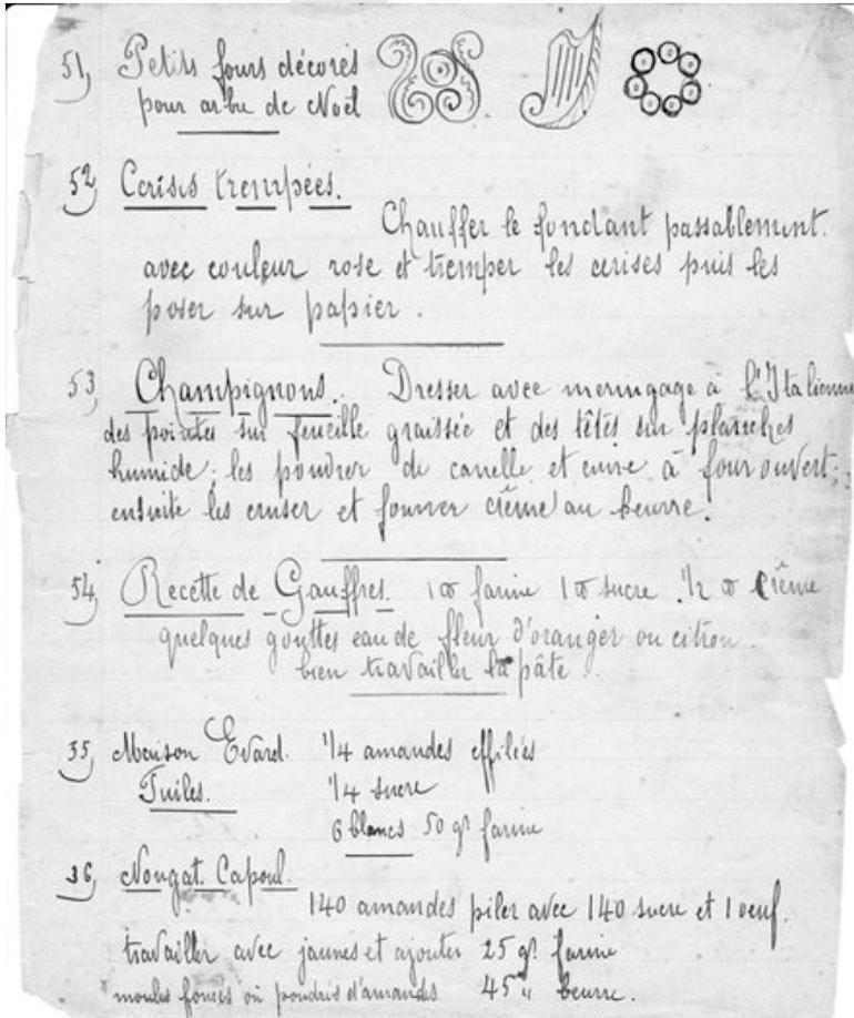 Une page du cahier de recette de Charles Grezet, confiseur à Ouchy