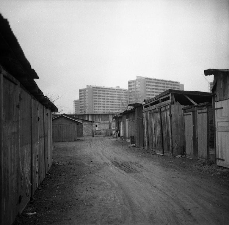 Carouge, la Praille: baraquements de saisonniers derrière la rue Alexandre Gavard
